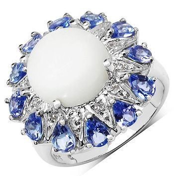 Natural 2.5CT Round Cabochon White Ethiopian Opal Tanzanite Halo Ring
