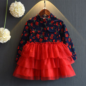 Free shipping 2017 spring autumn European full sleeves ball gown cake dresses floral kid children clothes girl dresses