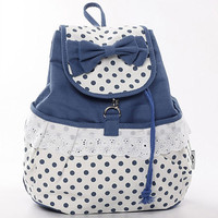 Fashion Dot Lace Bow Lace Backpack-Blue