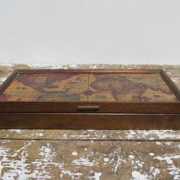 Vintage Jewelry Box Storage Box with Map Wooden Box