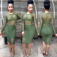 Army Green Long Sleeve Sheer Mesh Panel Bodycon Midi Dress