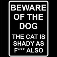 Beware Of The Dog Funny Bumper Sticker Vinyl Decal Grumpy Cat Fuck Fck, Honda Acura Dope Euro Turbo Jeep BMW Chevy