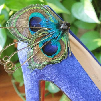Peacock Shoe Clips,set of 2,  Peacock Wedding Clips, Bridal Shoe Accessories