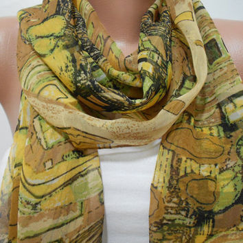Brown Mustard Silk Scarf Shawl, Gift For Mom For Her, Mothers Day Gift, ScarfClub