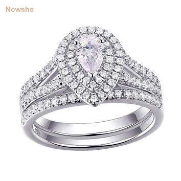 Newshe 1.2 Carats Pear Shape Zirconia Solid 925 Sterling Silver Wedding Engagement Ring Set Classic Jewelry For Women 1R0004
