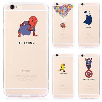 LMFUS4 Cute Cartoon Funny Transparent monkey Spider-Man Phone Case For Apple Iphone 6 6s 4.7 Soft Silicone Rubber Cover