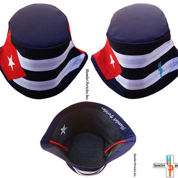 Cuba Flag Unisex Bucket Hat   Cuban Hat   Country Hat   Island   Caribbean   Sun Hat   Cuban Flag   Red, White, Blue Hat by Hamlet Pericles