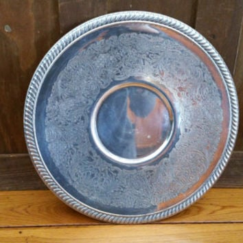 Vintage Silver on Copper Round Tray L.L.S. Perfect for Decor and Entertaining