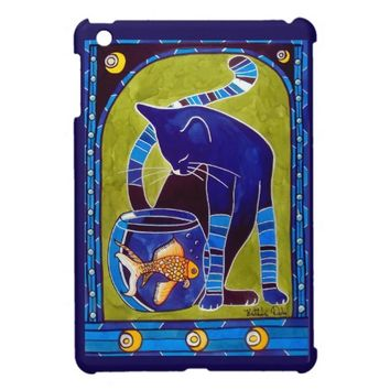 Blue Cat With Goldfish Whimsical Cat Art Case For The iPad Mini