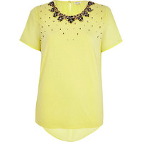 River Island Womens Yellow embellished neckline t-shirt
