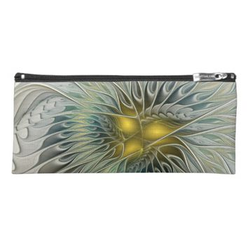 Golden Flower Fantasy, abstract Fractal Art Pencil Case
