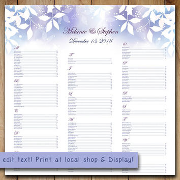 Winter Wedding Seating Chart Template | Watercolor Winter Wonderland Blue Purple Microsoft Word Template | You Print 22x22 Wedding Download