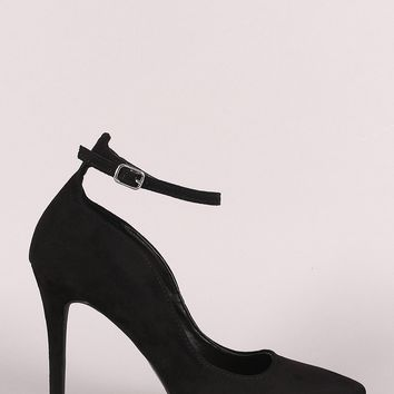 Qupid Vegan Suede Ankle Strap Pointy Toe Pump