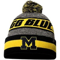 Michigan Wolverines Top of the World Cumulus Cuffed Knit Hat With Pom