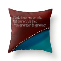 Grandchildren Are the Dots decorative accent pillow for grandparents, gifts for grandma, grandparents scatter cushion, christmas gift ideas