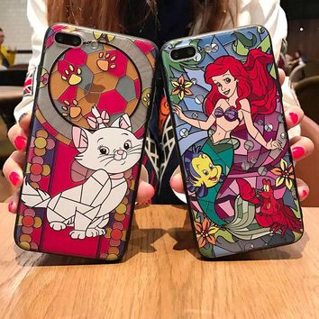 Vintage Pattern White Cat Alice Mermaid Fairy Cute Embossed Case For iPhone XS Max XR X 6 6S 7 8 Plus
