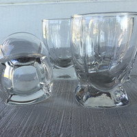 Set of 4 Vintage Berkeley Clear double old fashioned glasses, clear lowball tumblers, whiskey/scotch glasses, bar glasses / man cave barware