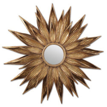 Sunflower Gold Antiqued Wall Mirror