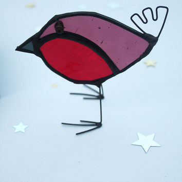 GLASS ROBIN - Standing Stained Glass Robin - Handmade Gift - Christmas Decoration - Window, Mantle Ornament - Mantle Decor
