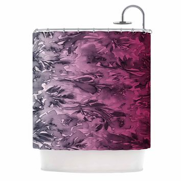 "Ebi Emporium ""Forever Flowers, Pink Ombre"" Pink Gray Watercolor Shower Curtain"