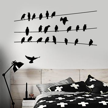 Vinyl Wall Decal Abstract Flock Of Birds On Electric Wire Stickers (2443ig)