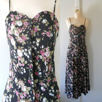 90s Floral Dress 90s Maxi Dress Long Floral Dress Floral Maxi Dress Flower Maxi Dress 90s Dress Floral Rayon Dress 80s Floral Dress Size 6