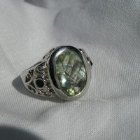 Brazilian Prasiolite Ring with Color Shift Masasi blue to green garnet