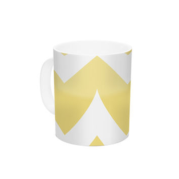 "Nick Atkinson ""Skull II"" Yellow Chevron Ceramic Coffee Mug"