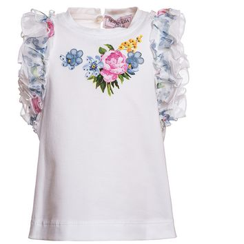 Monnalisa - Girls Jersey T-Shirt With Floral Ruffles, White