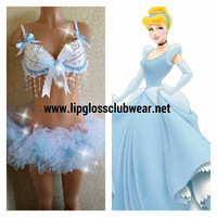 Cinderella Inspired Outfit Rave Wear- Theme Wear- Dance - Costume - Halloween Costume - Custom - Theatre Costume - Disney Costume - Princess