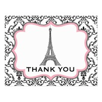 Eiffel Tower Pink Bridal Shower Thank You Postcard