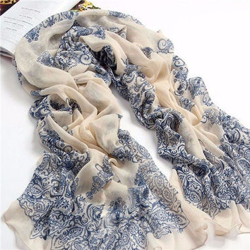Women Ladies Vintage Chinese Style Porcelain Printing Long Scarf Shawl Wrap Scarves