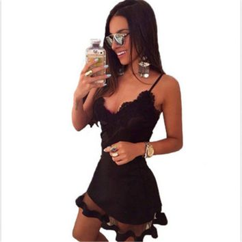 Black Fashion Strap V Neck Crochet Lace Waist Skater Dress Casual Mini Short Dresses