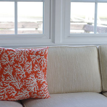 Cottage Decor Tropic Orange and White Sea Fan Coral Throw Pillow - 18x18