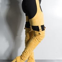 Yellow Waisted Thigh High Chunky Heel Boot