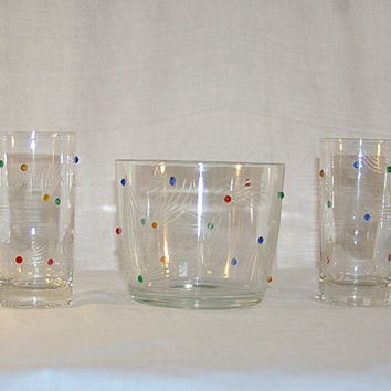 50s Crystal Rhinestone and Cut Sputnik Ice Bucket Tumblers Pair Atomic Age