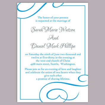 DIY Wedding Invitation Template Editable Word File Instant Download Printable Invitation Turquoise Wedding Invitation Blue Invitations