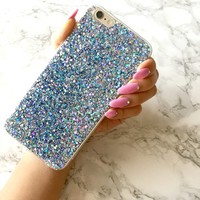 Holographic MIDNIGHT BOLT Sparkle Glitter iPhone X 8 7 6 6s Case Mermaid Scale Holo Reflective Iridescent Rainbow Hologram Best Gift for Her