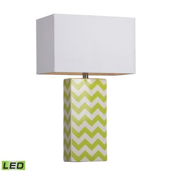 D278-LED Chevron Print Ceramic LED Table Lamp In Green And White - Free Shipping!