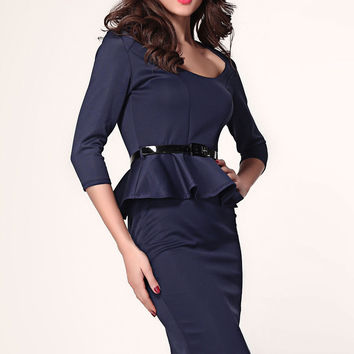Dark Blue Long Sleeve Belted Peplum Midi Dress  #Q229