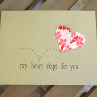 valentine's day card, valentine card, anniversary card, cute valentine, heart valentine, handmade valentine, my heart skips for you