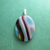 Striped Necklace, Colorful Fused Glass Pendant, Handmade Jewelry - Brynlee - 4566 -2