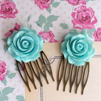 Blue Rose Hair Comb. Romantic Sweet Blue Bloom Rose. Nature Inspired Wedding Bridal Rose Floral Elegant Hair Accessories