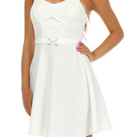 Solid Lace A Line Dress - White