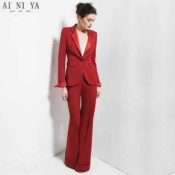 Red One Buttom 2 Piece Sets Womens Business Suits Work Female Office Uniform Elegant Pant Suits Evening Straight Trousers Custom
