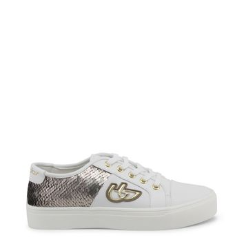 Blu Byblos White Metal Eyelets Sequin Sneakers