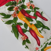 Chili Pepper Crochet Top Kitchen Towel