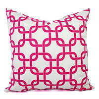 Two Chainlink Pillow Covers - Hot Pink and White Pillows - Pink Throw Pillow - Chainlink Throw Pillow - Hot Pink Pillow - Pink Dorm Decor