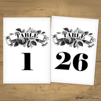 Rustic table numbers, printable table numbers, vintage wedding, printable DIY wedding, instant download, numbers 1 to 26