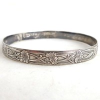 Vintage Art Nouveau Sterling Silver Floral Bangle Bracelet
